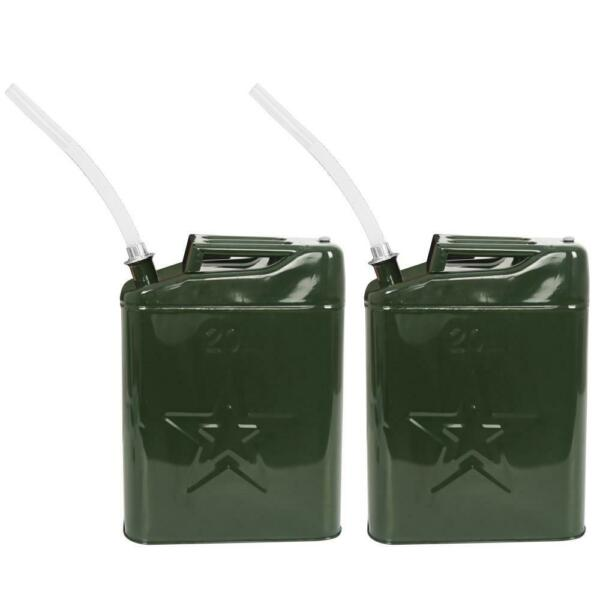 Pair Jerry Can 5 Gallon 20L Steel Outdoor Emergency Portable New $57.79