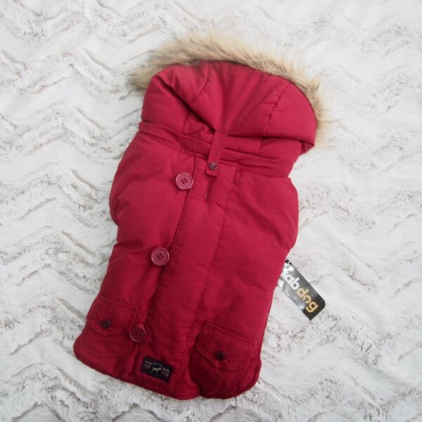 Fab Dog Removable Hooded Snorkel Jacket Red Coat 14quot; Faux Fur Puppy $19.97