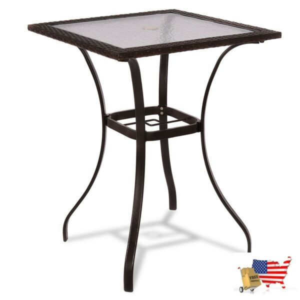 28.5#x27;#x27; Outdoor Patio Square Glass Top Table with Rattan Edging $173.97