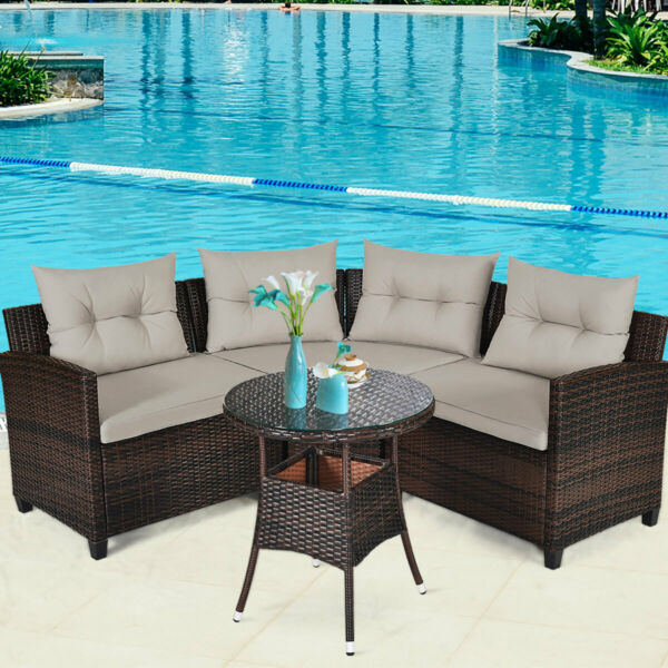 Patiojoy 4PCS Outdoor Patio Rattan Furniture Set Cushioned Sofa Table Sectional $499.99