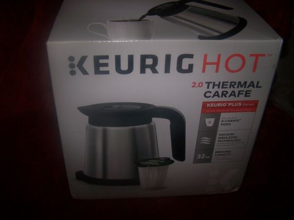 Keurig Hot 2.0 Stainless Steel 32 Oz Thermal Carafe Silver Black Original Pack