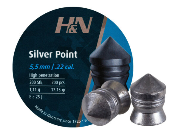 Hamp;N Silver Point 200 Count POINTED 5.5mm .22 Caliber Pellets MADE IN GERMANY $16.95