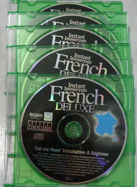 Instant Immersion French Deluxe 5 PC CD ROMs. Never used in black CD holders. $17.99