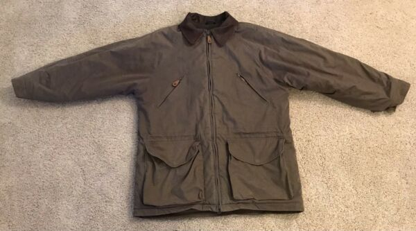 Timberland Weathergear Mens Small Hunting Jacket Work Coat Brown Leather Collar $24.95