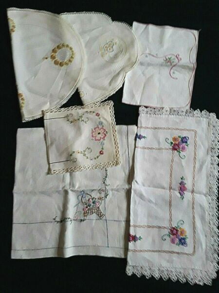 Lot of 6 Vintage Assorted Embroidered Linen Tablecloths Toppers Doilies