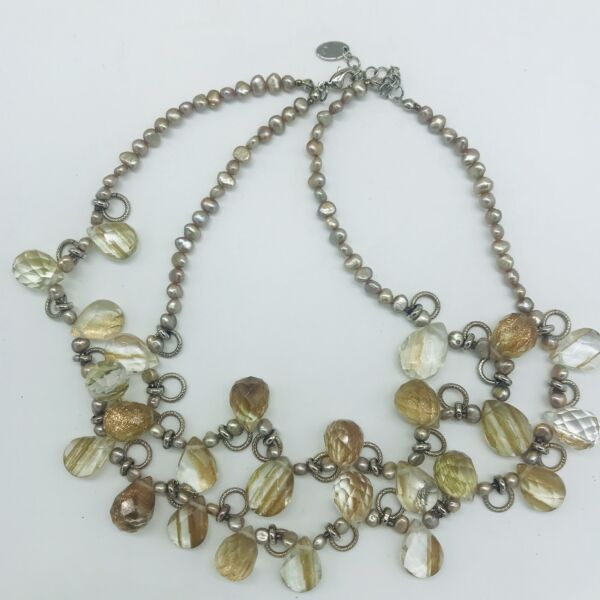 By Grace Double Stand Freash Water Pearls Faceted Acrylic Necklace $19.99