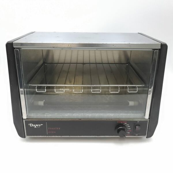 Dazey 2401 Stainless Steel and Black Toaster Oven Bake Defroster Warmer