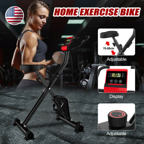 Foldable Stationary Upright Exercise Workout Gym Cycling Bike Indoor Black Home $86.89