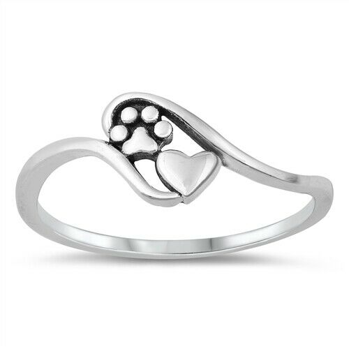 Dog Paw Heart Puppy Pet Animal Ring 925 Sterling Silver Band Size 4 to 12 NEW $10.85