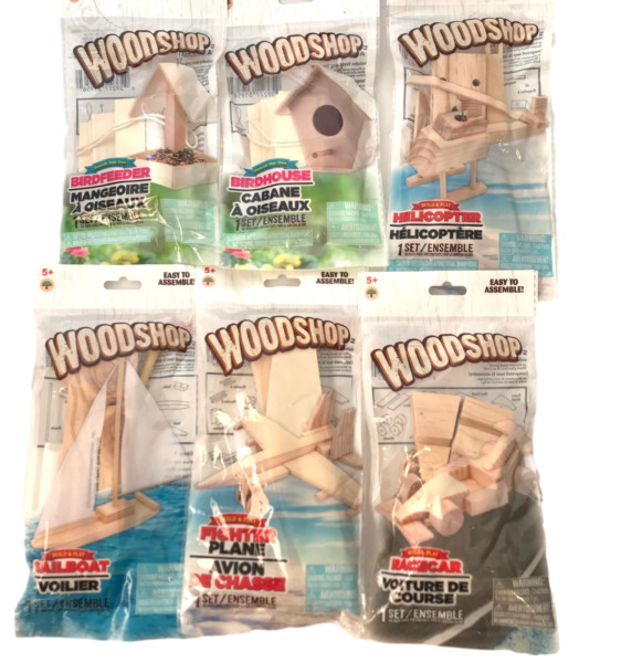 Wood Kits for Kids 6 : Car Plane Sailboat Helicopter Bird House Feeder $23.99