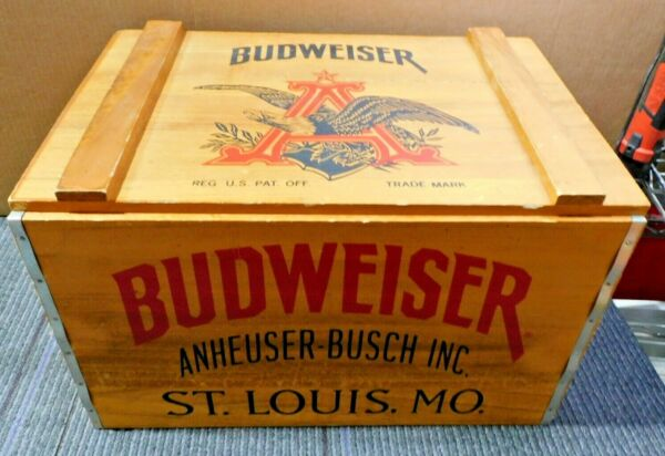 Budweiser Wooden Beer Crate Hinged Lid Anheuser Busch Since 1876 Vintage G34