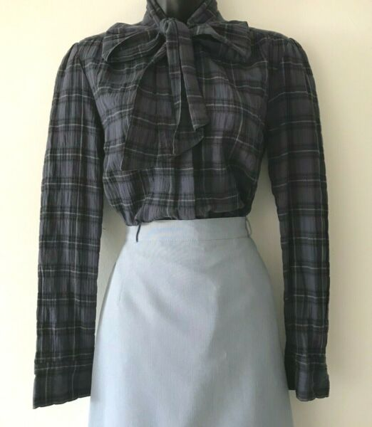 Womens #x27;Tommy#x27; Blue Plaid Secretary Pussy Bow Blouse Top Cotton Puff Shoulders S $35.00