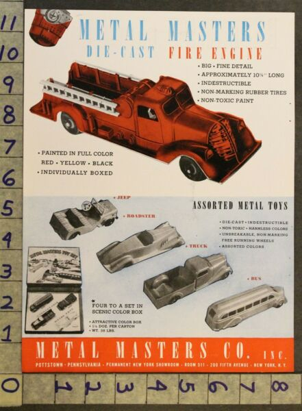 1947 METAL MASTER CAST FIRE ENGINE AUTO JEEP PAPER ROLL CAP AMERICAN TOY AD TQ30