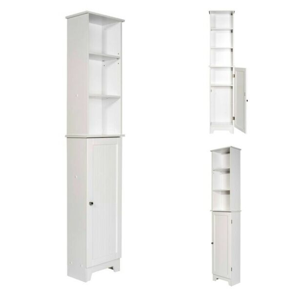 Bathroom Storage Cabinet Freestanding Linen Tower Organizer Wood Pantry Cupboard