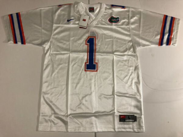 University of Florida Gators NIKE football Jersey White #1 authentic UF L LARGE