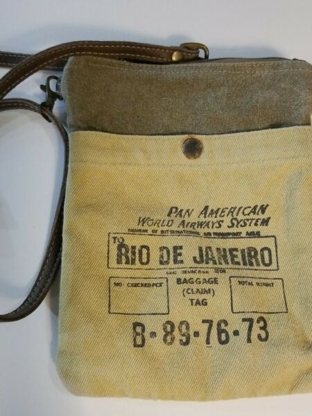 RIO DE JANEIRO PASSPORT CROSSBODY SHOULDER CANVAS BAG Military Tents Truck Tarp