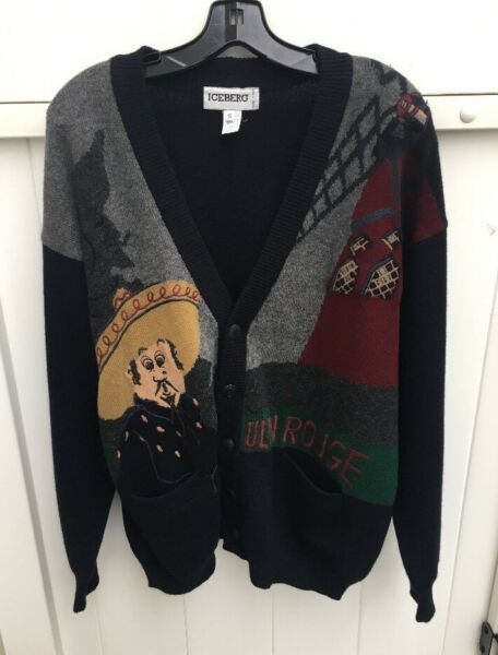 Vintage 90s Iceberg Sweater Mulin Rouge Small Made In Italy $65.00