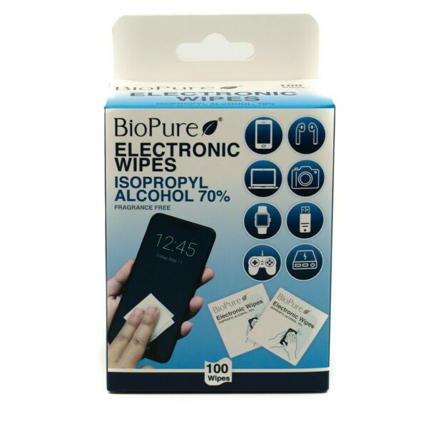 BioPure Electronic Wipes 100 Count Isopropyl Alcohol 70% Fragrance Free New $3.99