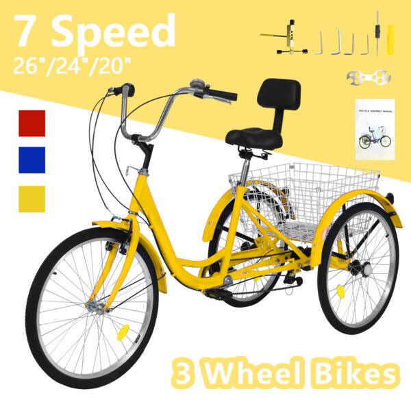 20 24 26quot; 7Speed Adult Tricycle 3 Wheel Trike Cruiser Bike w Basket for Shopping $260.19