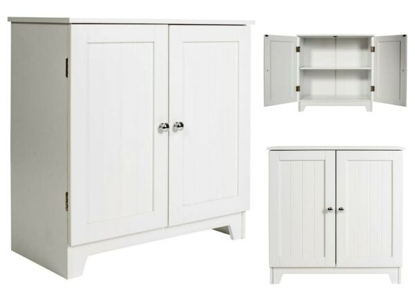 Bathroom Storage Cabinet Freestanding Wooden Organizer Cupboard Kitchen Pantry