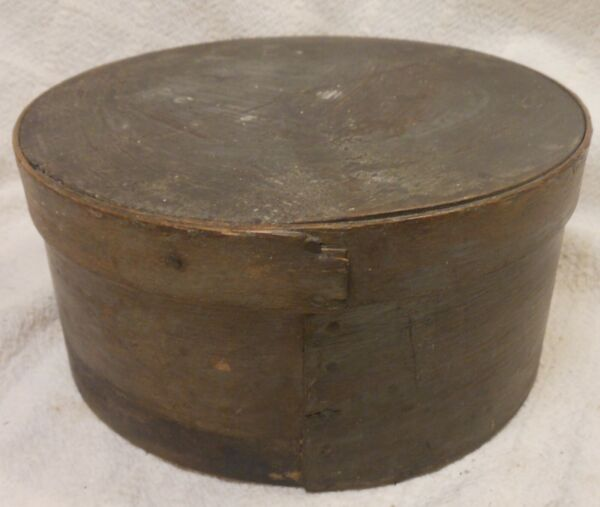 Good Antique Old Gray Green Painted Covered Pantry Box 7 3 4#x27;#x27; diameter