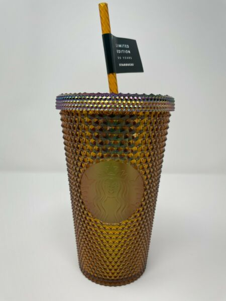 Starbucks 50th Anniversary Honeycomb Gold Studded Cold Cup Tumbler 16oz New
