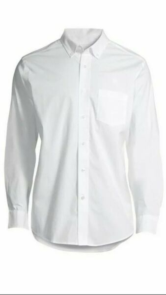 3 PACK GEORGE MEN#x27;S LARGE 42 44 WHITE BUTTON DOWN STRETCH LONG SLEEVE SHIRT NEW