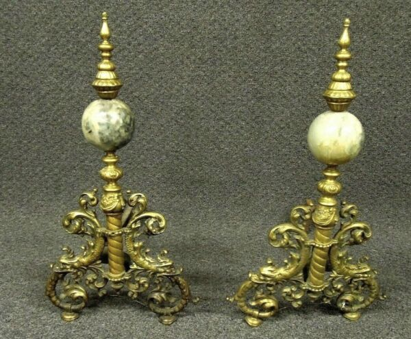 French Andirons Fireplace Antique Orbs Rare Pair