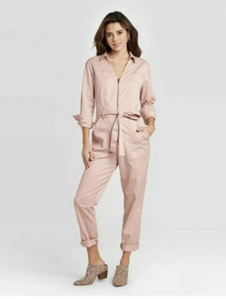 New Pink Jumpsuit Boiler Suit Romper Stretch Belted Exposed Zipper Tapered 26W $24.99