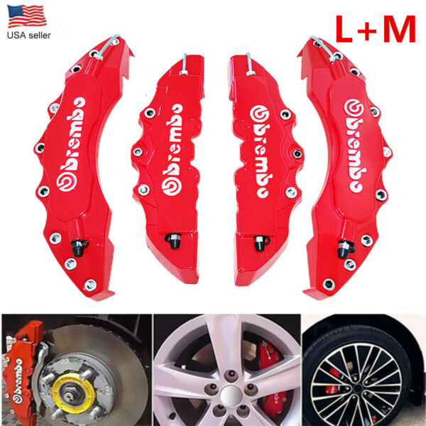 4Pcs 3D Style Car Disc Brake Caliper Cover Front amp; Rear Kit Universal RED LM $18.99