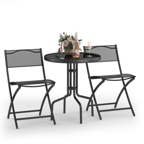 Goplus 3PCS Bistro Set Garden Backyard Table Folding Chairs Outdoor Furniture $109.99