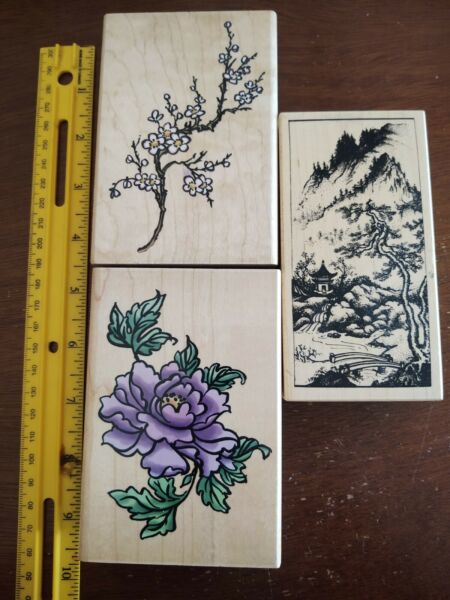 Set of 3 Large Wood Mounted Stamps; Stampendous Chintz Collection amp; PSX