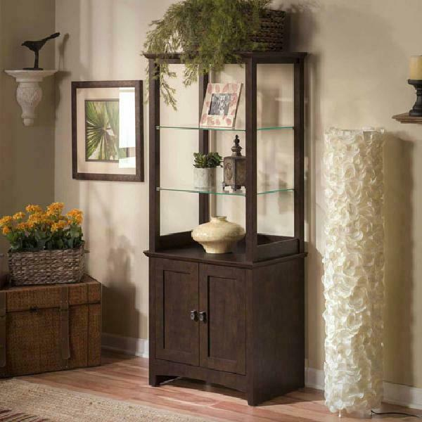 Curio Display Cabinet Library Cupboard Wood Glass Office Case Doors Storage Home $204.50