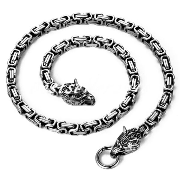 Mens Stainless Steel Wolf Head Norse Viking King Byzantine Chain Necklace 25quot; $16.99