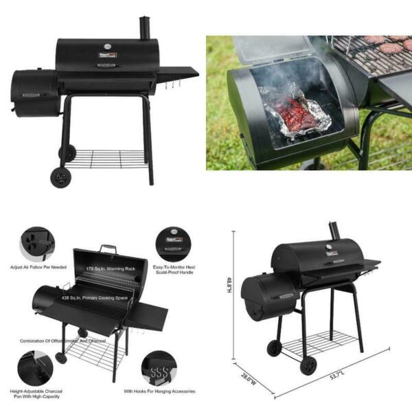 Charcoal Grill BBQ Barbecue Cooker Offset Smoker Outdoor Pit Patio 800 SQ FT New