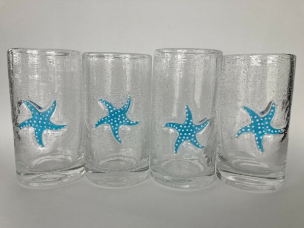 Vintage 4 Recycled Glass Tumblers Starfish Hand blown Glasses Mexico 1 lb Each