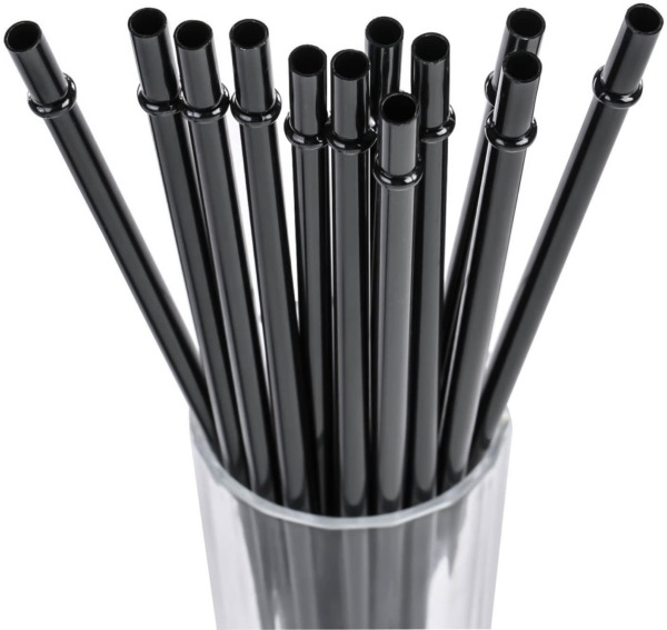 11quot; Long Black Reusable Plastic Drinking Straws For 16 oz amp; 24 oz
