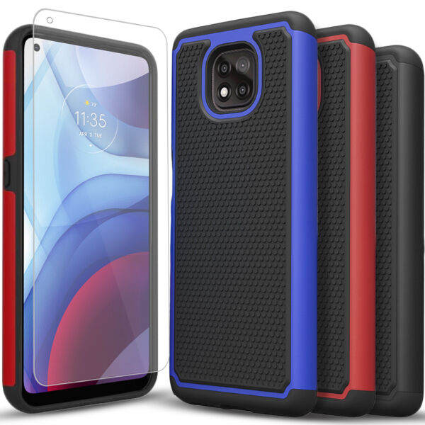 For Motorola Moto G Power Play 2021 Case Armor Cover Tempered Glass Protector $7.99