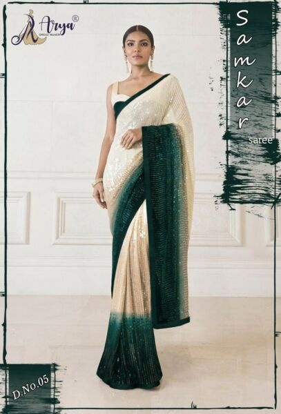 Indian Georgette Saree Sequence Work Designer Party Wear Bollywood Sari Blouse $39.99