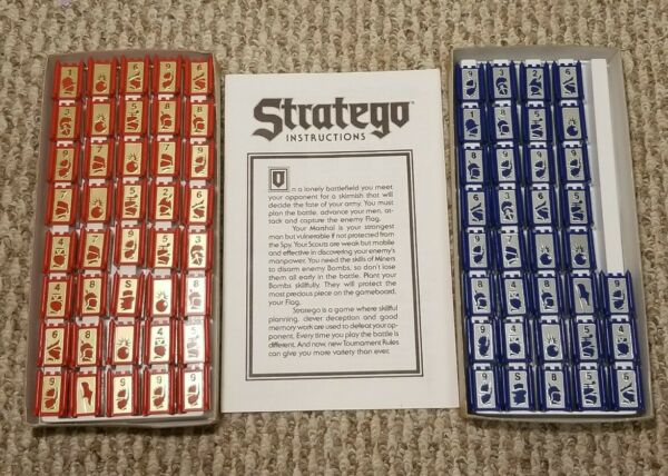 Stratego Vintage Board Game Replacement Pieces 1986 Red amp; Blue Instructions