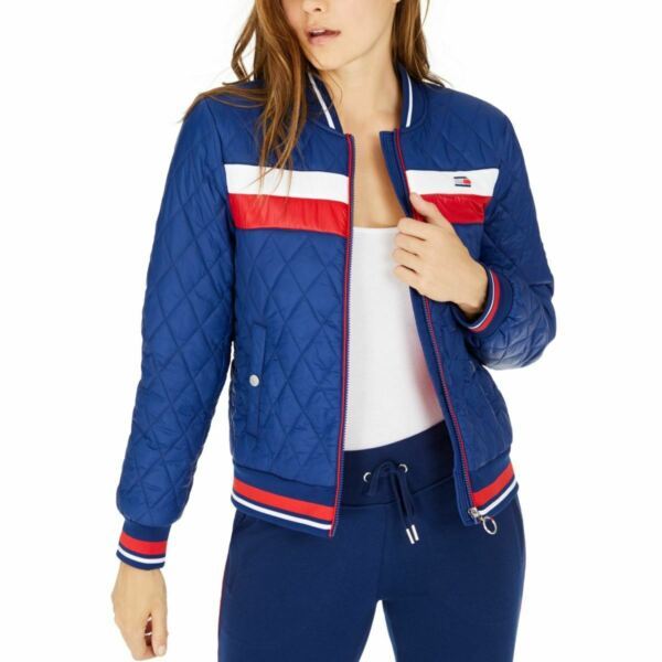 TOMMY HILFIGER SPORT NEW Women#x27;s Quilted Bomber Puffer Jacket Top TEDO $39.99