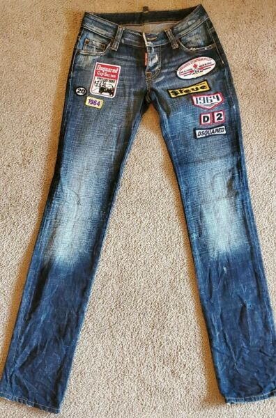 MSRP $880 Dsquared2 Women#x27;s Patched Authentic Designer Jeans Size Italy Size 48 $117.00