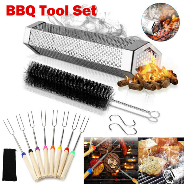 12quot; Stainless Steel Outdoor Wood BBQ Smoker Tubeamp;Telescoping BBQ Roasting Sticks