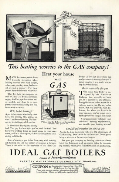 1927 Ideal Gas Boilers: Toss Heating Worries Vintage Print Ad $7.25