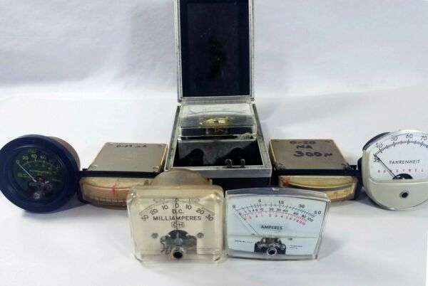 Lot of 7 Vintage Panel Meters Different Types Steampunk Industrial
