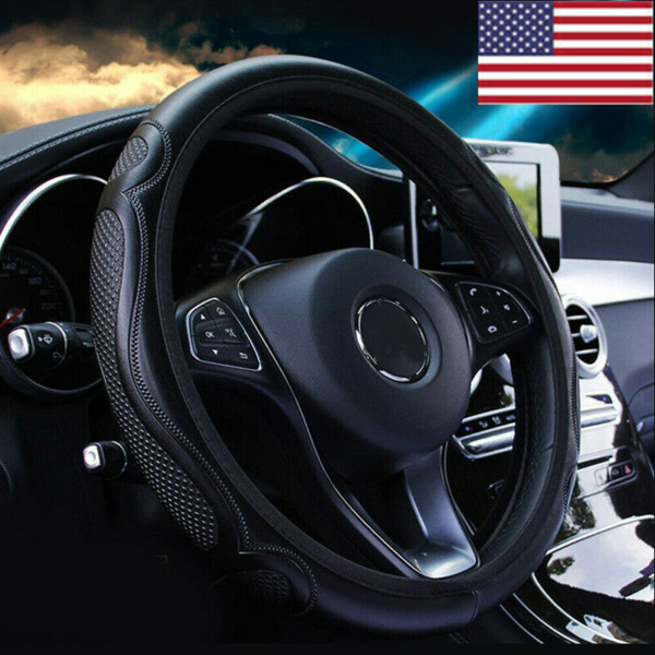 Black Leather Car Steering Wheel Cover Breathable Anti slip Car Accessories US $7.98