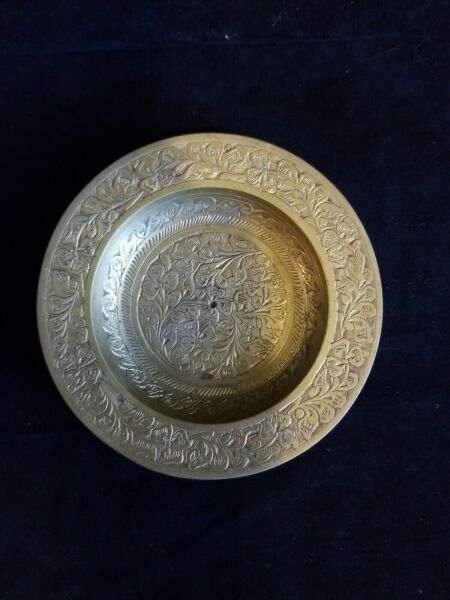 Vintage Brass Plate Solid Ornate Small Etched Flower Design Made In India 567c