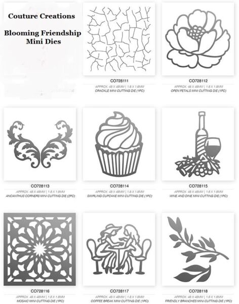 Couture Creations #x27;BLOOMING FRIENDSHIP#x27; MINI DIES Choose from 7 Cupcake