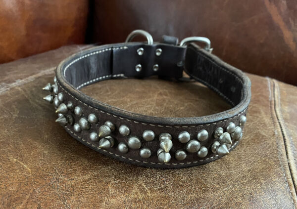 """VintAge Thick Supple Leather Spiked Dog Collar 22"""" $44.99"""