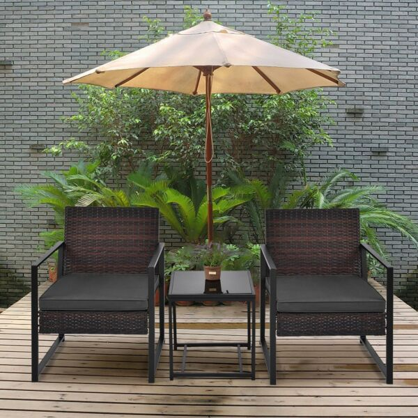 3 Pcs Outdoor Rattan Wicker Rocker Lounge Rocking Chair Patio Furniture Set